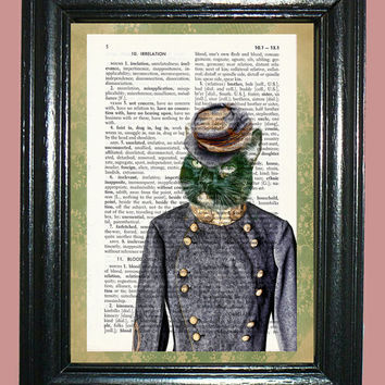 Civil War Cat Dressed in a Confederate Uniform Dictionary Page Art Page Art Print Dictionary Print Upcycled Page Art Print cp469