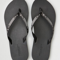 AE WESTERN LEATHER FLIP FLOP, Black