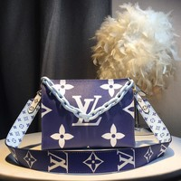Kuyou Gb59717 Lv Louis Vuitton Big Chain Leather Blue Inclined Shoulder Bag 25*20*5