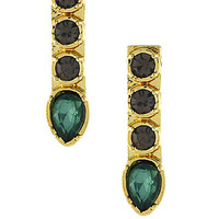 Bcbgeneration Gold Tone and Emerald Stone Stick Earrings
