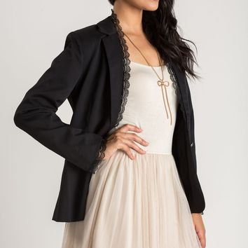 Stella Black Lace Trim Blazer