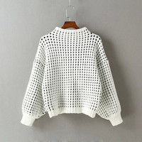 White Lantern Sleeve Turtleneck Knitted Sweaters