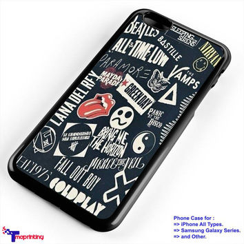 Band Collage Coldpay FOB Bring Me the Horizon - Personalized iPhone 7 Case, iPhone 6/6S Plus, 5 5S SE, 7S Plus, Samsung Galaxy S5 S6 S7 S8 Case, and Other