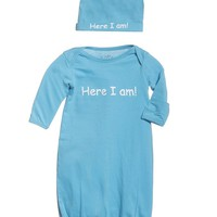 Eden | Here I Am Baby Receiving Gown and Hat in Aqua Blue