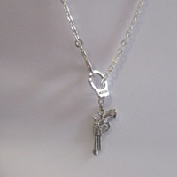 Handcuff and Gun Lariat Charm Necklace, Partners in Crime Necklace, Crime Necklace