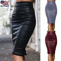 Women's Sexy Faux Leather Skirt Bandage Bodycon Vintage High Waist Pencil Skirts
