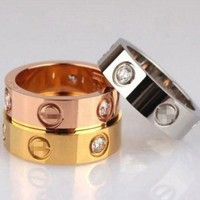 PEAP Cartier Fashion Couple Rings Women Ring Rhinestone Ring