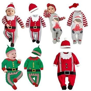 PPY-78,2018 Christmas Baby rompers Costume kids newborn clothes long sleeve spring children infant clothing set top+hat