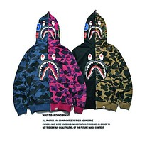 Bape Shark Hoodies Zippers Hats Korean Couple Casual Jacket
