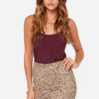 Crochet a While Taupe Lace Pencil Skirt