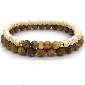 Cheap Simple Brown Stone Bead Bracelet For Men Women by Ritzy