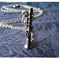 Tiny Clarinet Charm Necklace in Antique Pewter with a Delicate 18 Inch Silver Plated Cable Chain