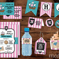 Pirate Pink Birthday Party Package Invitations INSTANT DOWNLOAD Captain Ships Ahoy Girls Decorations Printable Collection Editable Invite