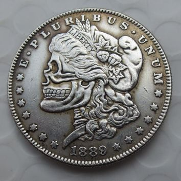 US Head-To-Head Two Face 1889CC Morgan Dollar skull zombie skeleton hand carved Copy Coins