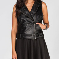 Jack By Bb Dakota Teagan Womens Faux Leather Moto Vest Black  In Sizes