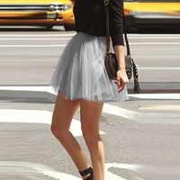 Grey Pleated Grenadine Fluffy High Waisted Flowy Skater Tutu Cute Short Skirt