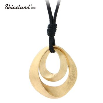 Shineland Hot Sale Classic Jewelry Women Gold Silver Plated Handmade Drawing Brushed Double Oval Hollow Pendant Necklace Bijoux