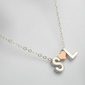Personalized Necklace, Letter Necklace, Tiny Initial Necklace, Mommy Necklace, Couples Necklace,  Initial Necklace, Gift For Her-Gift Idea,
