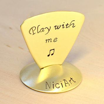 Brass Triangular Guitar Pick for the Flirtatious Bassist - Bass Style Guitar Pick GP676