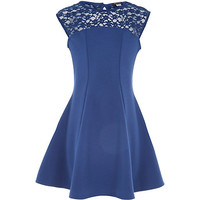 River Island Girls navy lace insert skater dress