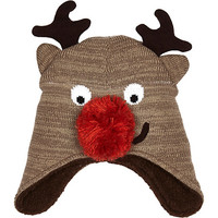 River Island Boys brown christmas reindeer hat