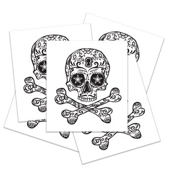 Skull & Cross Bones Halloween Tattoos - Set of 5
