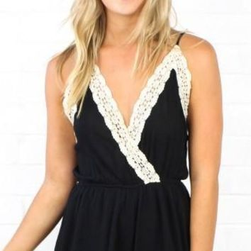 The Takedown Solid Black Romper