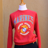 Vtg Marines Sweatshirt Distressed Red United States Corps Semper Fi Medium Large pull over crew neck