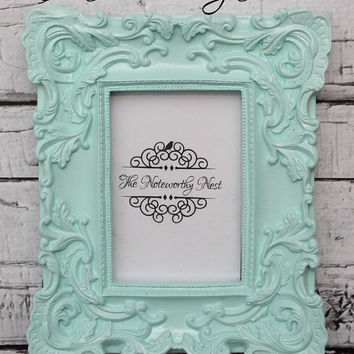 Mint green ornate frame // Mint frame //Mint decor // 4x6 frame / ornate frame //unique frame / nursery frame / girls bedroom / pastel frame