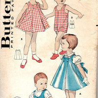 Retro Vintage 1950s Sewing Pattern Toddler Boy Girl Romper Jumper Playsuit Dress Blouse Snap Button Closure Size 3