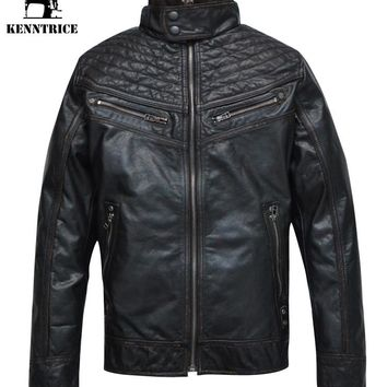 Kenntrice Stand Collar Real Leather Motorcycle Jacket Men Winter Genuine Leather Jacket Black Suede Coats Warm Bomber Jacket