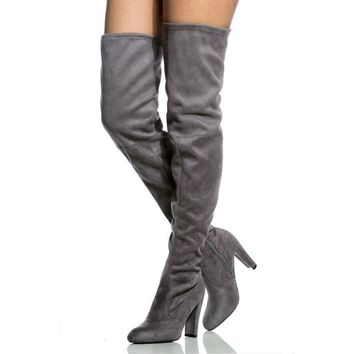 Women Over The Knee Stretch Thigh High Heel Boots Toe Lace Up Boot Shoes New