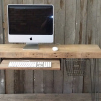 "Modern Industrial small desk  32"" x 11.5"" w x 30.5"" tall with sliding keyboard tray with free shipping"