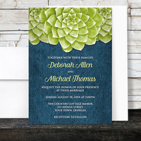 Succulent Wedding Invitations - Blue Denim Green Succulent Rustic Wedding - Printed Invitations