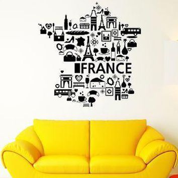 Wall Decal France The Eiffel Tower Wine Croissant Cheese Vinyl Stickers Unique Gift (ed089)