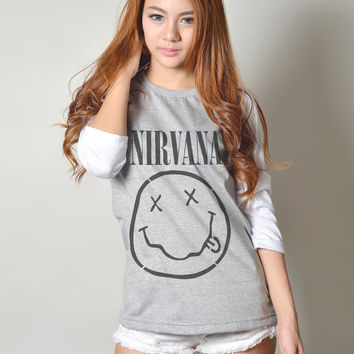 Nirvana Shirt Drunk Smiley Face Baseball T Shirt Raglan Tee Long Sleeve T Shirts Women Tshirt