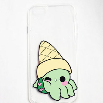 Hand painted octopus phone case, iPhone 6 case clear, iPhone 7 case, iPhone 6s case, Ice Cream Phone Case, Samsung Galaxy S7 Edge Case