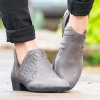 Redbud Laser Cut Booties | Pewter