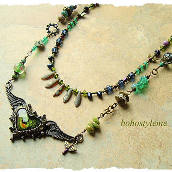 Boho Style Assemblage Necklace, Art Jewelry, Winged Heart Pendant, Unique Design, bohostyleme, Kaye Kraus