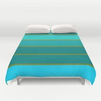 Mint Teal & Golden Green STripes Duvet Cover by 2sweet4words Designs | Society6