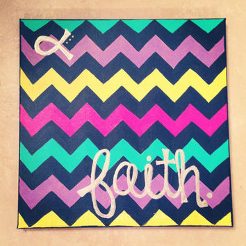 Chevron Faith Canvas Painting by TheEsperanzaShoppe on Etsy