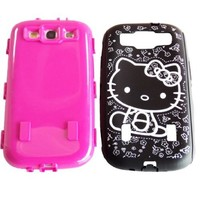 Hello Kitty Hybrid Case for Samsung Galaxy S3 Hot Pink High Impact Bow Cover + Free Screen Protector & Stylus