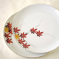 Vintage Japanese Maple Leaf Plates, YY Made in Japan, Fall Momiji Autumn Dinner Set of Two