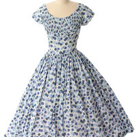 50s Jerry Gilden Floral Full Tea Length Dress