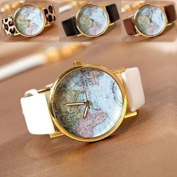 Fashion Leather Band World Map Design Analog Students Casual Quartz Wrist Watch = 5987539393