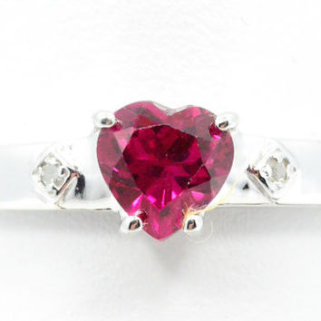 1 Carat Ruby Heart Diamond Ring .925 Sterling Silver Rhodium Finish White Gold Quality