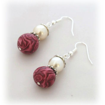 Burgundy Drop Earrings - Polymer Clay Earrings - Millefiori Rose Flowers  - Burgundy Red Pearl White - Bespoke Design