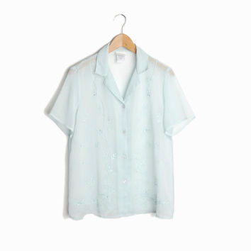 Vintage Sheer Embroidered Blouse in Baby Blue - women's small