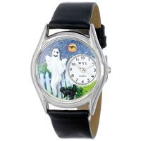 SheilaShrubs.com: Women's Halloween Ghost Black Leather Watch S-1220010 by Whimsical Watches: Watches