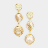 Gold Round Druzy Stone Drop Double Thread Ball Earrings